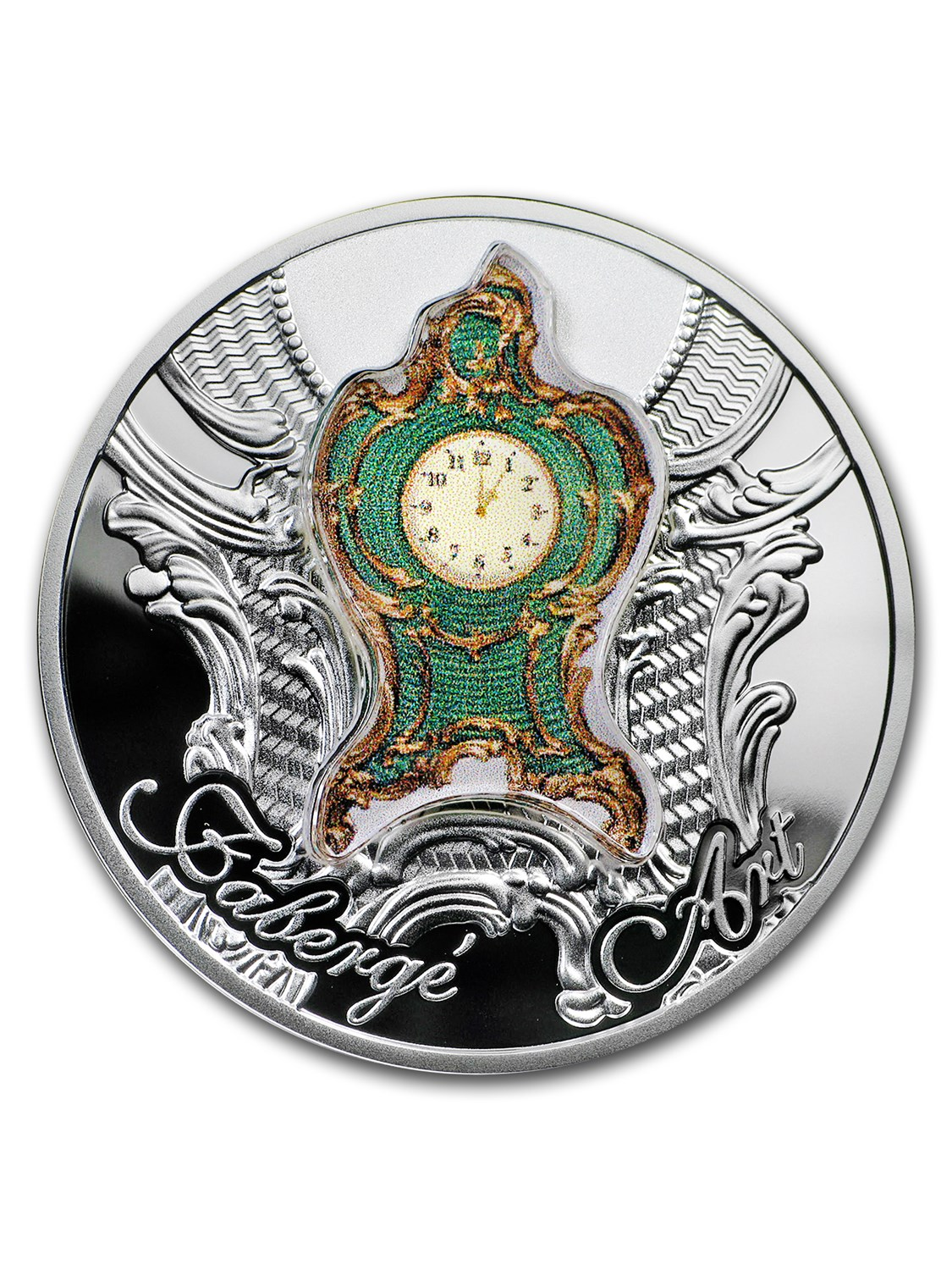 2018 Niue 1 oz Silver Art of Faberge (Imperial Desk Clock Art) by