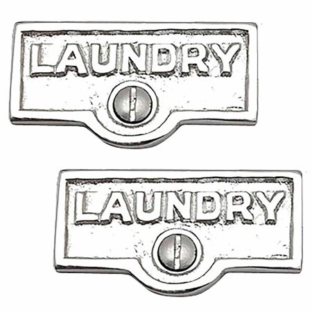 2 Switch Plate Tags LAUNDRY Name Signs Labels Chrome Brass