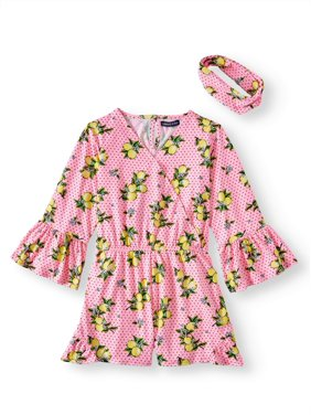 e7789da7436d Product Image Lemon 3/4 Sleeve Ruffled Romper with Headband (Big Girls)