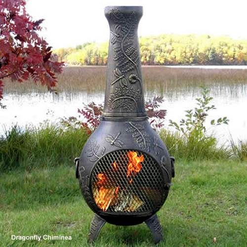 Outdoor Chiminea Fireplace Dragonfly in Gold Accent Finish (Without Gas) by The Blue Rooster