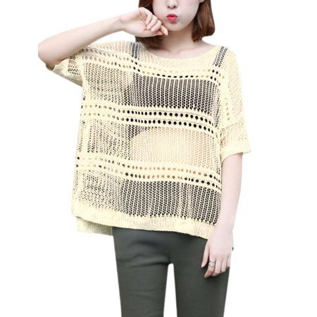 Womens Batwing Sleeves Cover Up Loose Open Knit Top Beige Xs