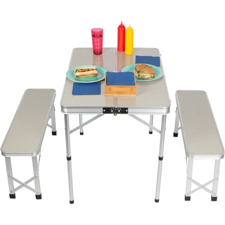Strange 35 4 Portable Aluminum Folding Suitcase Picnic Table With 2 33 8 Folding Bench Seats By Trademark Innovations Onthecornerstone Fun Painted Chair Ideas Images Onthecornerstoneorg