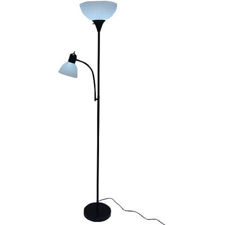 Mainstays 72 Combo Floor Lamp with Adjustable Reading Lamp - Black