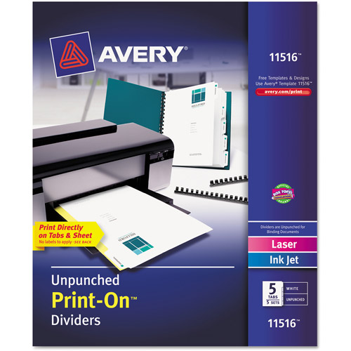 Avery Print-On Dividers, 5-Tab, White, 5-Pack