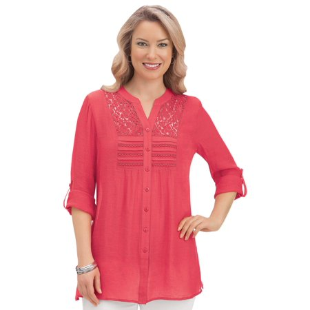 Miss Me Tunic (Women's Lace Inset Button Front Pintuck Tunic Top Blouse with Roll Tab Sleeves, Xx-Large, Coral)