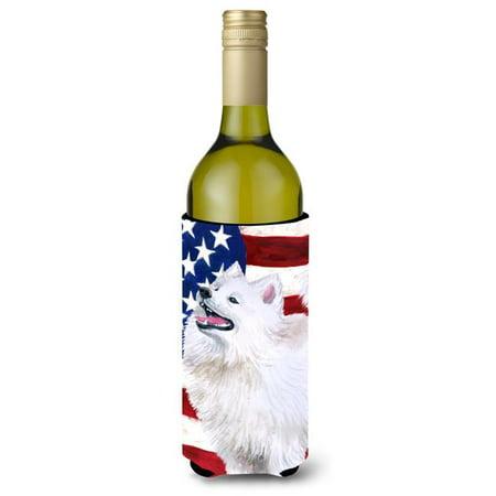 Carolines Treasures BB9691LITERK Samoyed Patriotic Wine Bottle Beverge Insulator Hugger - image 1 de 1