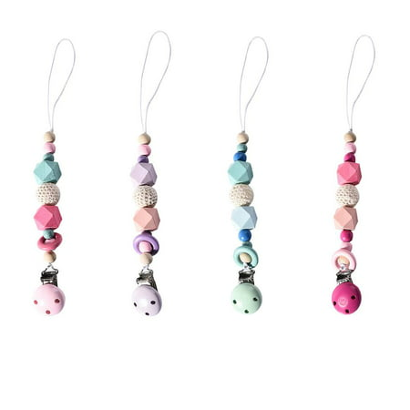 Pacifier Clips Wooden Teething Beads Holder for Baby Girls Boys Gift Teether Toys Drool Bib