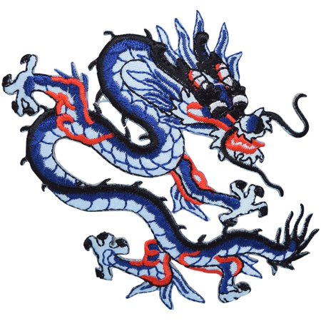 Blue/Red Chinese Dragon - Iron On Applique/Embroidered (Chinese Needlepoint)