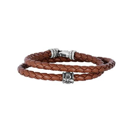 Double Wrap Around Bracelet - Tan Leather 4mm Braided Round Wrap Around Bracelet Oxidized Ss Clasp Fleur De Lis Symbol - 8 Inch