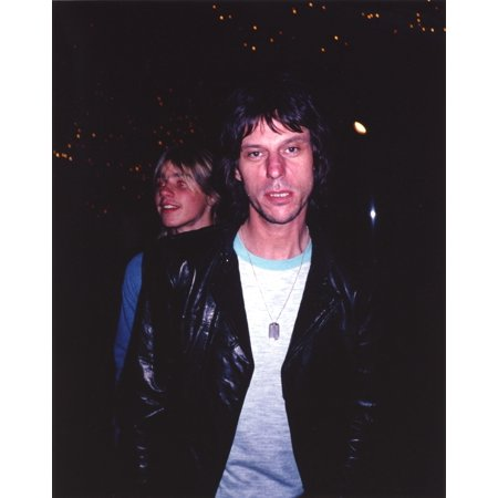 Jeff Beck Candid Shot in Black Sport Coat and White Ringer T-Shirt Photo Print