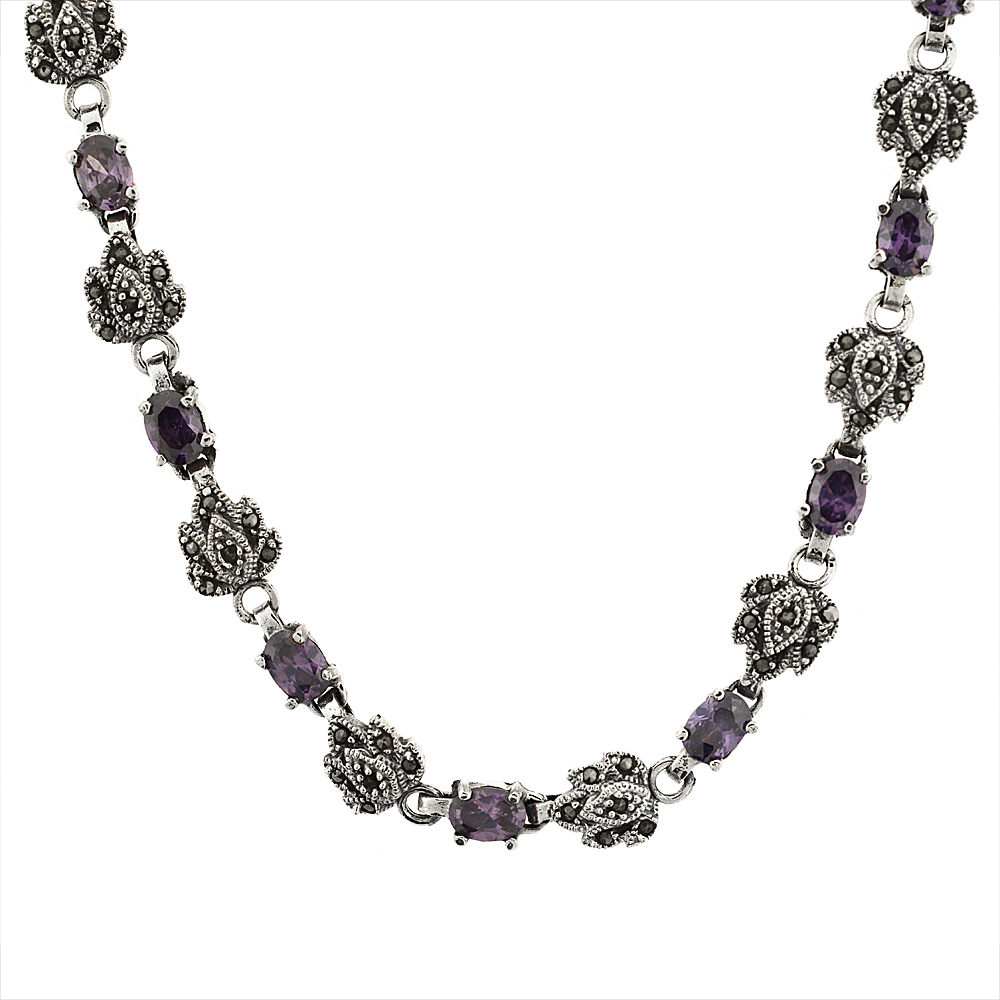 Sterling Silver Cubic Zirconia Amethyst Marcasite Necklace, 16 inch long by WorldJewels