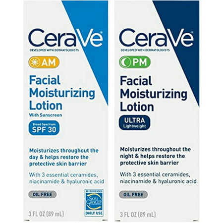 CeraVe Day & Night Face Lotion Skin Care Set | Contains CeraVe AM Face Moisturizer with SPF 30 and CeraVe PM Face