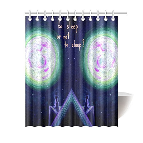 GCKG Funny Animal Cute Cat Shower Curtain Full Moon Light Stars