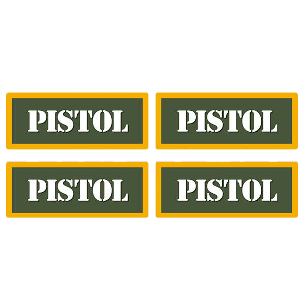 "Pistol Ammo Can 4 Pack 3"" Olive OD Sticker Gun Ammunition Box Case Decal"