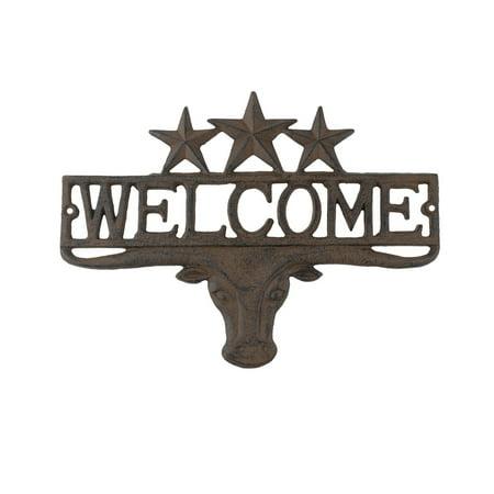 Rustic Metal Texas Longhorn Welcome Home Sign TX Garage Man Cave Front Door Decor ()