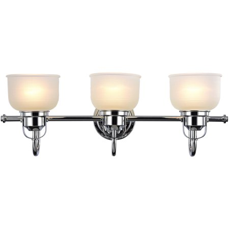 """Chloe Lighting Ironclad Industrial-Style 3-Light Chrome Finish Bath Vanity Wall Fixture White Frosted Prismatic Glass, 25"""" Wide"""
