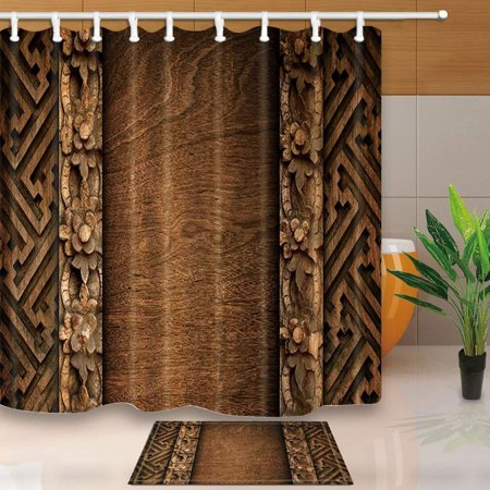 WOPOP Rustic Decor Wall Retro Color Pattern Engraving Shower Curtain 66x72 inches with Floor Doormat Bath Rugs 15.7x23.6 inches