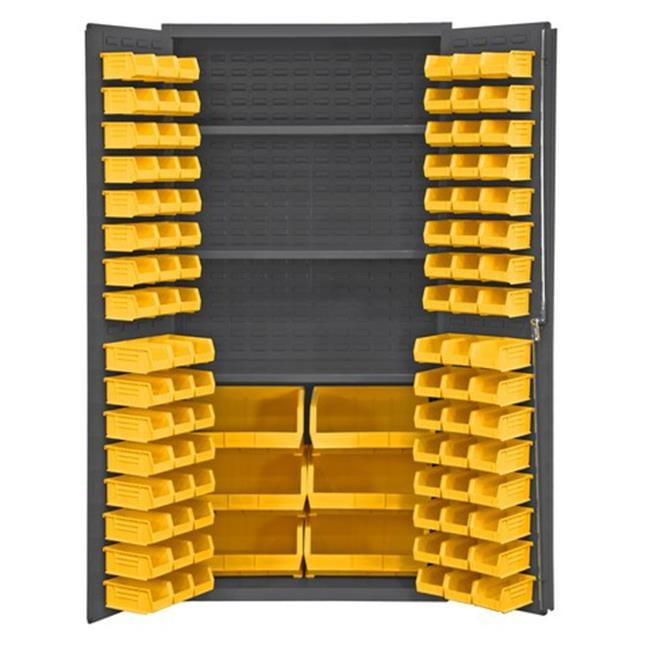36 in. 16 Gauge Flush Door Style Lockable Cabinets with 102 Yellow Hook on Bins & 3 Adjustable Shelves, Gray