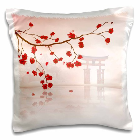 3dRose Beautiful Japanese Sakura Red Cherry Blossoms Branching Reflecting Over Water - Pillow Case, 16 by - Red Cherry Blossom