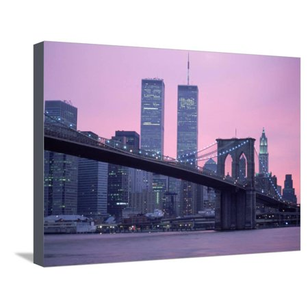 Brooklyn Bridge, Twin Towers, NYC, NY Stretched Canvas Print Wall Art By Barry Winiker