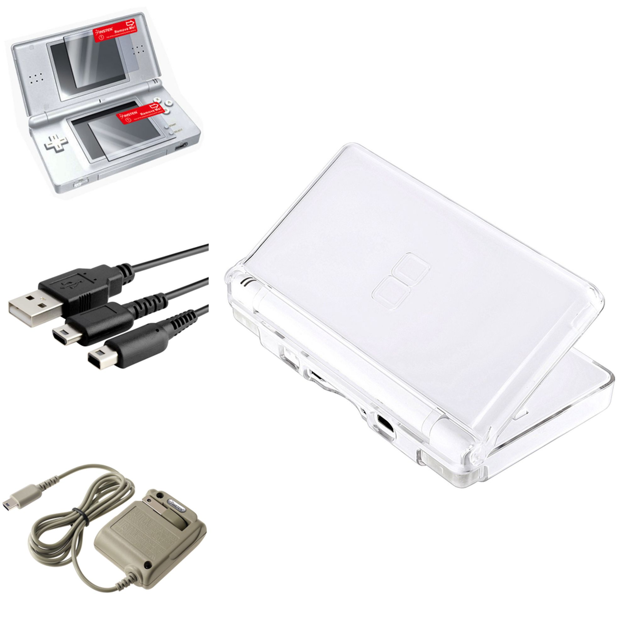 Nintendo DS LiteCrystal Case + Charging Cable + Travel Charger + 2 LCD Protector