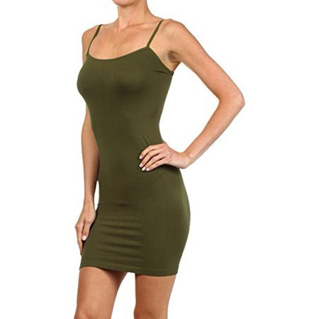 Seamless Solid Dress Spaghetti Straps (Yellow Dress Up Ideas)