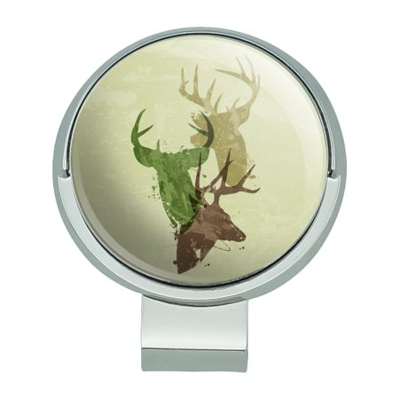 Deer Heads Trio Design Hunting Hunter Camouflage Golf Hat Clip With Magnetic Ball Marker