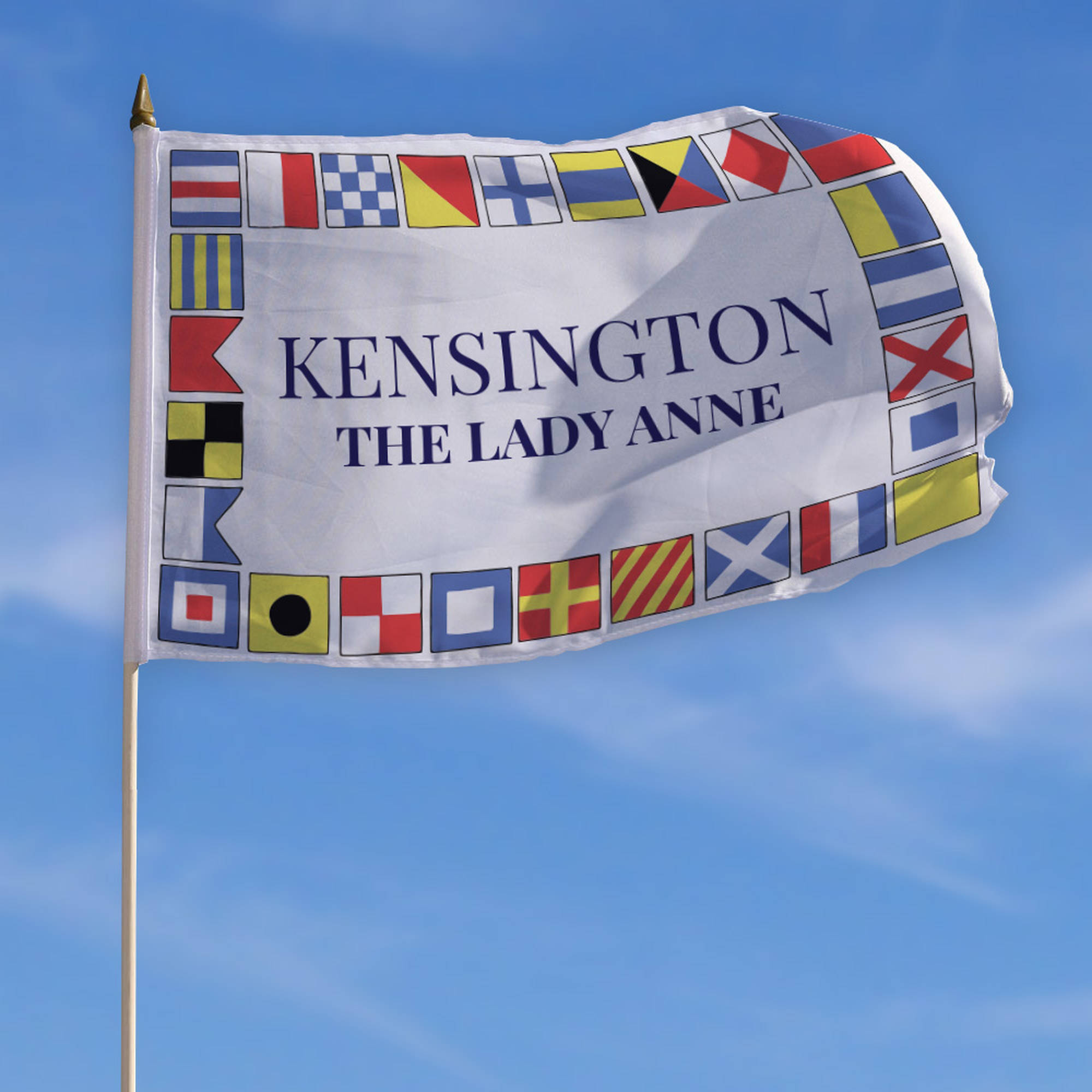 "Personalized Kensington Patriotic Flag with Stick, 18"" x 12"""