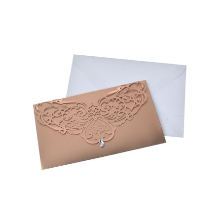 Rhinestone Buckles Invitations (Blank Invitations Rectangle Laser Cut Design With Rhinestone, Rose Gold, 7-1/4 Inch,)