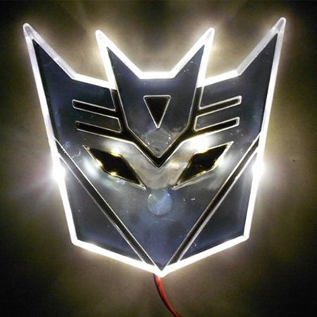 Edge Glowing LED Transformers DECEPTICONS Car Emblem - WHITE -LED Transformers Decpticons car emblem(Autobots Transformers emblem is available, please search it in our online store)-Edge glowing,chromium designing-Color available in Red, Blue, White,Warm White, Amber-Input voltage: 12V,directly hook to car battery, tail or brake light-3M self-adhesive tape on back, two power cables