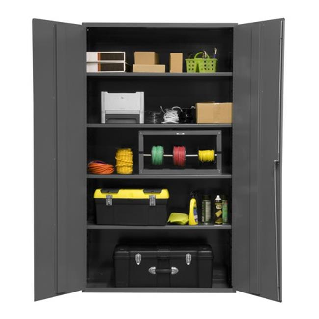 48 in. 16 Gauge Flush Door Style Lockable Storage Cabinet with 4 Adjustable Shelves, Gray