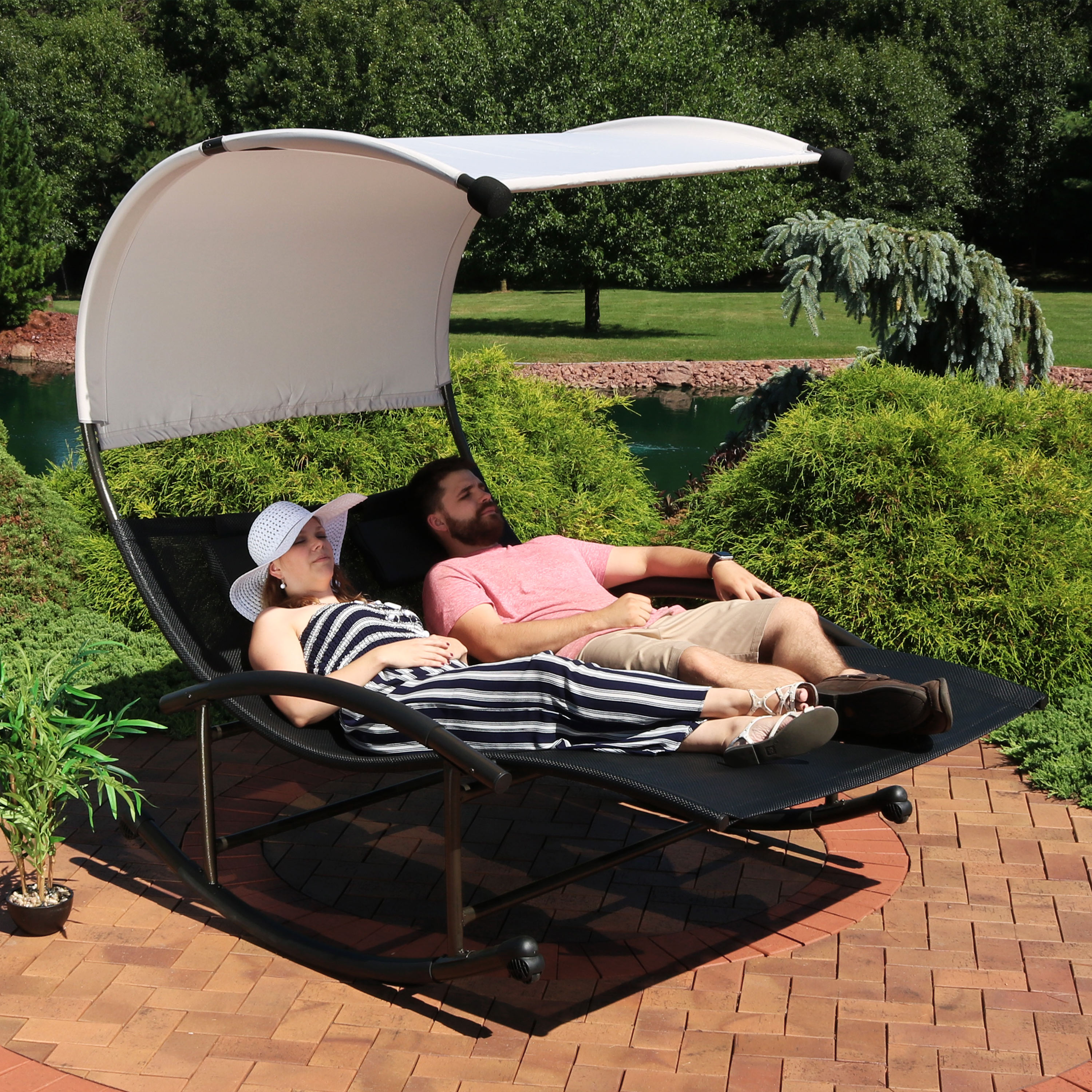 Awesome Sunnydaze Outdoor Double Chaise Rocking Lounge Chair With Canopy Shade And Headrest Pillows Portable Patio Sun Lounger Black Bralicious Painted Fabric Chair Ideas Braliciousco