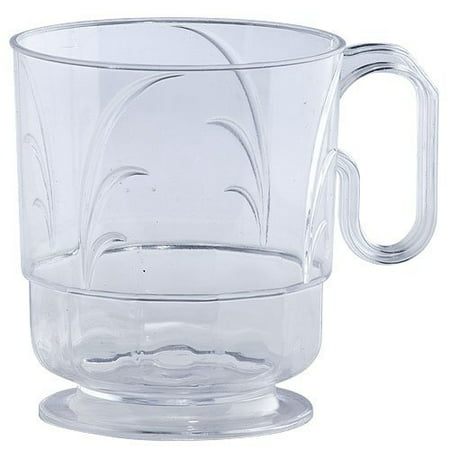 Lillian Plastic Elegance Clear Hot Coffee Mug with Handle 8 Oz High Ct - Clear Mugs