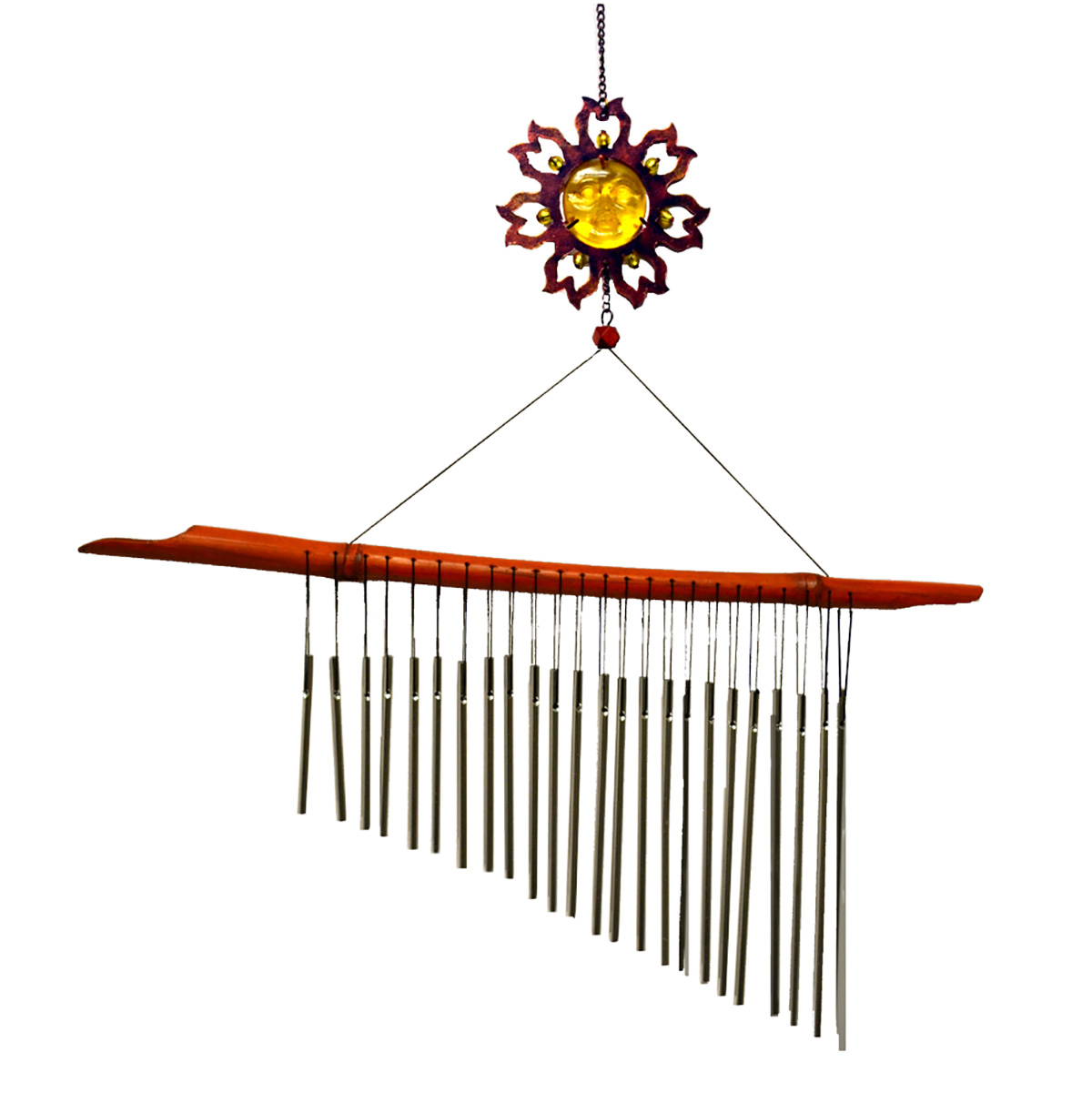 Sun Face Flute Bamboo Chime Yellow by