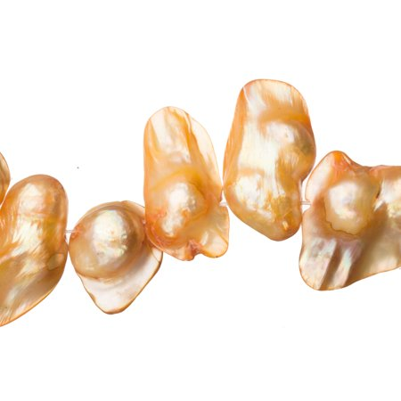 Apricot Freshwater Cultured Pearls Natural Baroque, C+ Graded, 22x6x12mm (Approx.), 15.5Inch Strings/35Pearlsx2