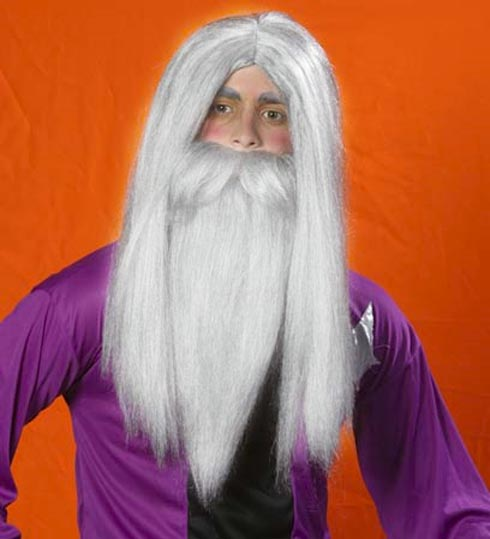 "Wizard 22"" White Costume Wig & Beard"