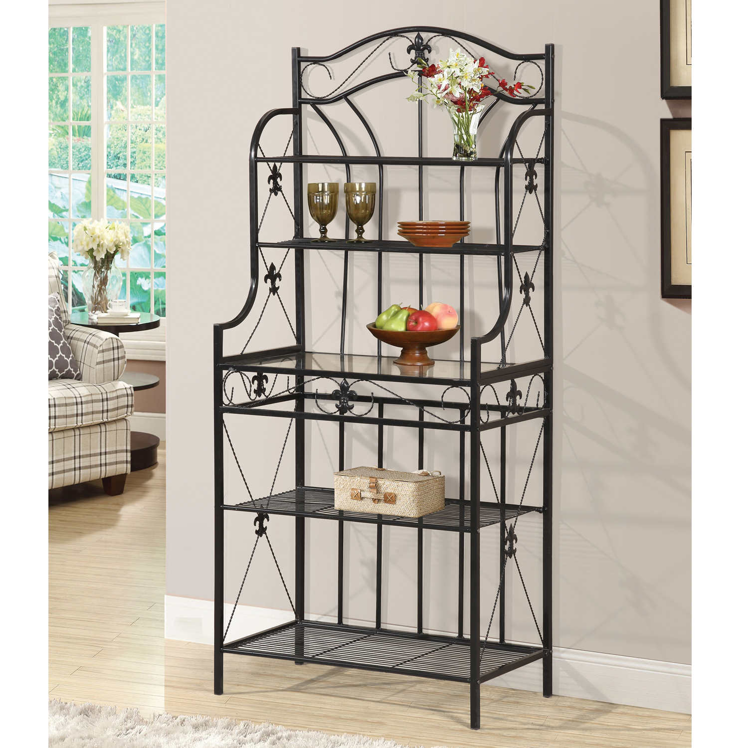 Celine Black Metal 5 Shelf Baker's Rack