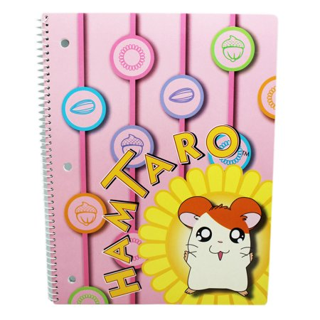Hamtaro Pink Colored Spiral Notebook With Flower Graphic