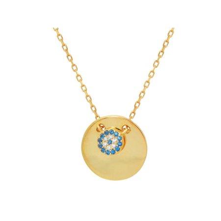 Fronay 551158 16 in. Mini Glimmering Evil Eye Disc Pendant Necklace in Sterling Silver - image 1 de 1