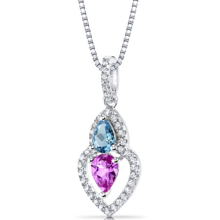 1.50 Carats Pear Shape Created Pink Sapphire and Swiss Blue Topaz Pendant Necklace in Sterling Silver