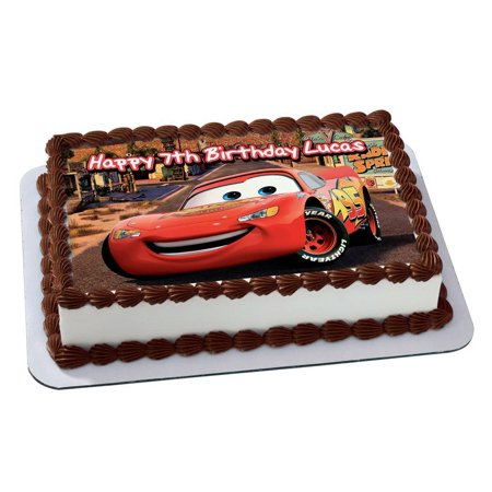 Cars 3 lightning McQueen Disney Quarter Sheet Edible Photo Birthday Cake Topper. ~ Personalized! 1/4 Sheet ()