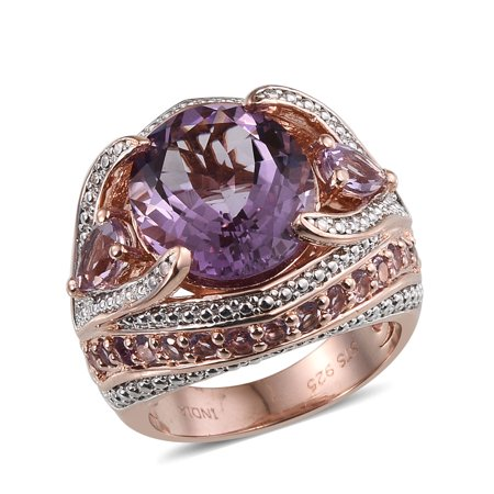 Gold Oval Amethyst - Silver Rose Gold Plated Oval Pink Amethyst Ring for Her Size 7 -ST Cttw 2.27
