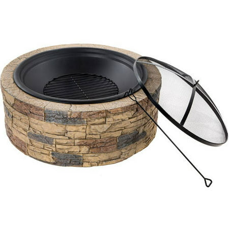 Sun Joe SJFP35-STN 35-In. Cast Stone Base, Wood Burning Fire Pit w/Dome Screen and Poker, Natural Stone ()