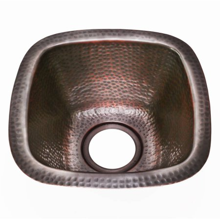 Houzer HW-BETA13A Hammerwerks Series Under-Mount Petite Bar Sink, Antique Copper