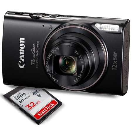 Canon PowerShot ELPH 360 HS(Black)with 12x Optical Zoom and Built-In Wi-Fi with Deluxe Starter Kit Including 32GB SDHC