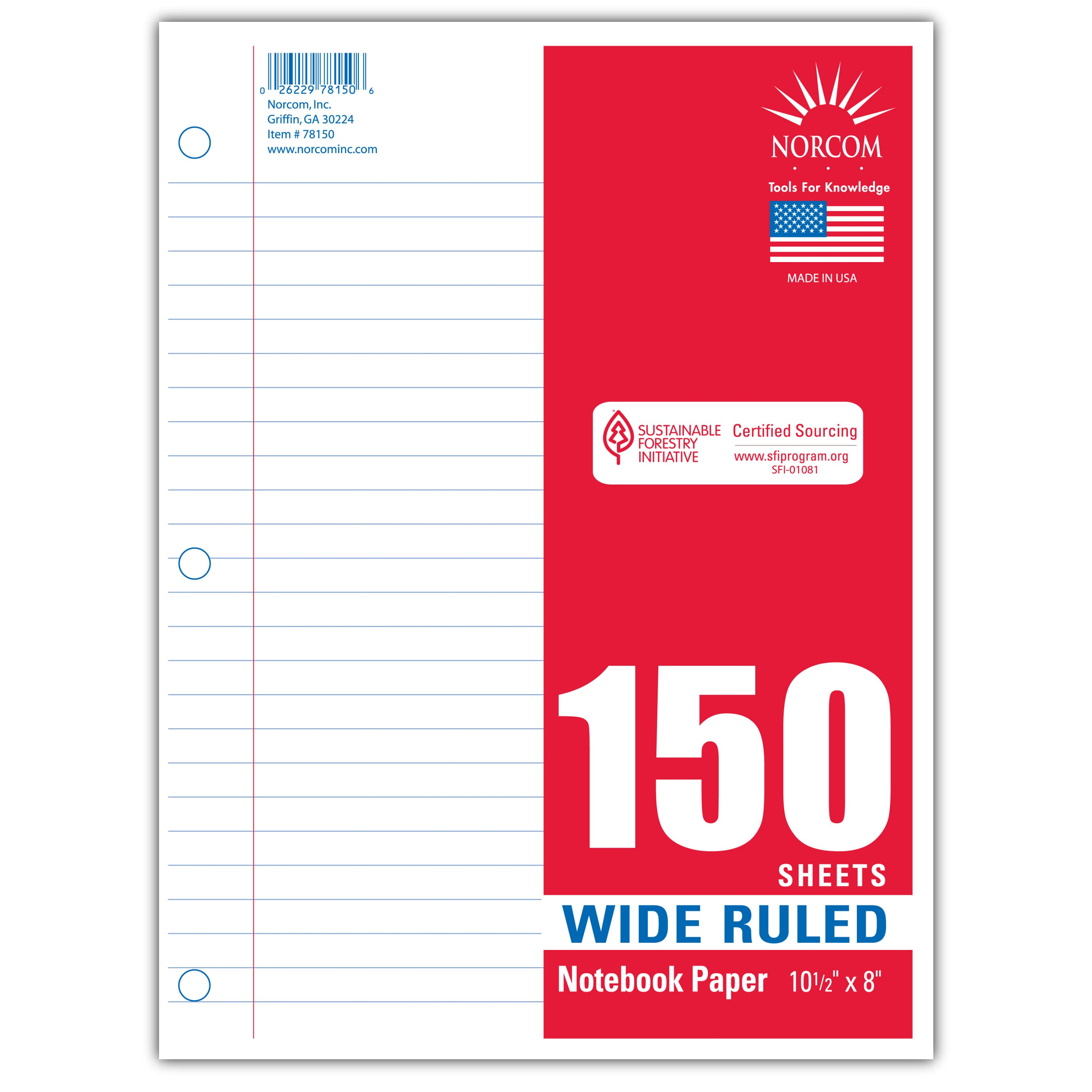 Norcom 150ct Wide Ruled Filler Paper