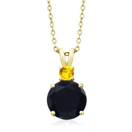 313 ct round black onyx yellow sapphire 18k yellow gold pendant 313 ct round black onyx yellow sapphire 18k yellow gold pendant aloadofball Image collections
