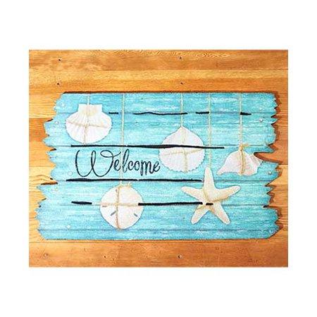 Beach Theme Doormat. Wooden Look Summer Doormats. (Seashell Welcome) - Beach Themed Accessories