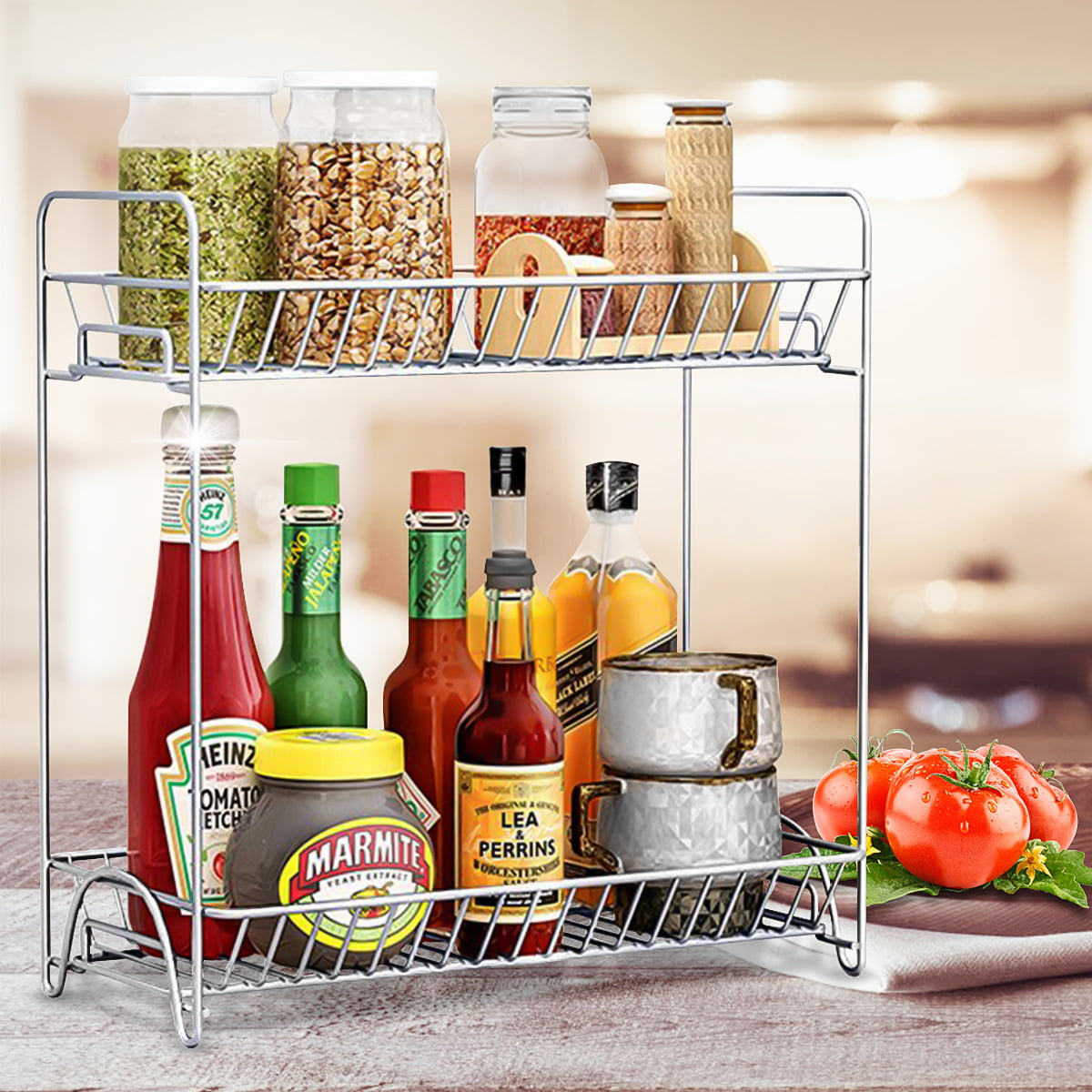 S-morebuy 2-Tier Spice Rack Stainless steel , Kitchen ...