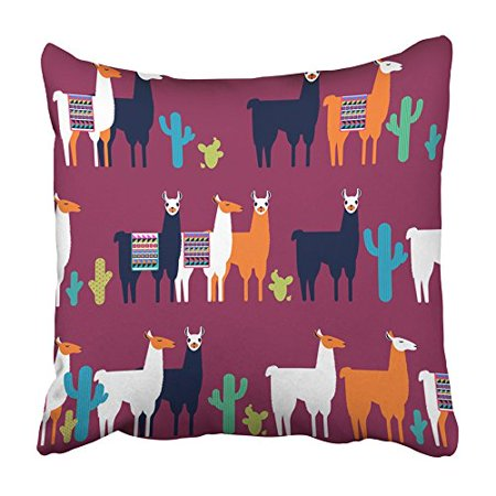 ARHOME Llama with Lamas and Cactuses All the Are Not Cropped and Hidden Under Mask Pillowcase Cushion Cover 20x20 inch - Llama Mask
